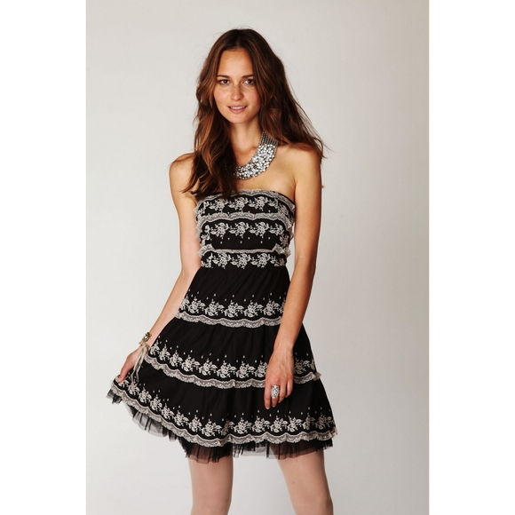 Free People Tiered Lace Black Strapless Dress